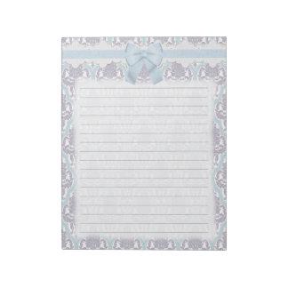 Lila elegante lamentable y damasco azul bloc de papel