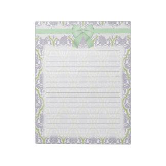 Lila elegante lamentable y damasco verde blocs de notas