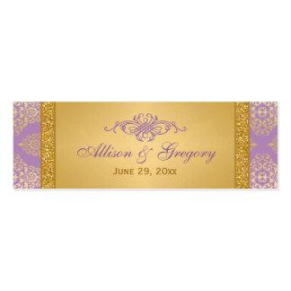 Lila FALSO brillo etiqueta del favor del boda de Tarjetas De Visita