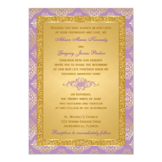 Lila, FALSO brillo, invitación del boda del
