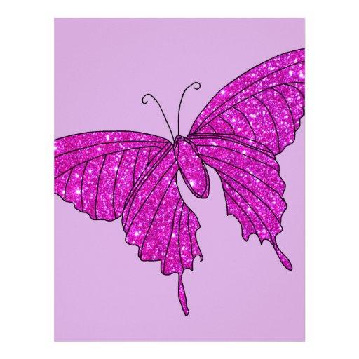 Lila femenina de la mariposa del brillo de la chis plantilla de membrete