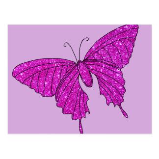 Lila femenina de la mariposa del brillo de la tarjetas postales