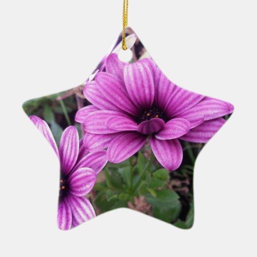 Lila flor adorno navideño de cerámica en forma de estrella