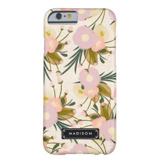 Lila floral retra femenina elegante y melocotón funda de iPhone 6 barely there