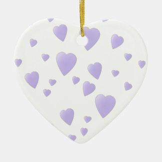 Lila ligera y modelo blanco de los corazones del adornos de navidad