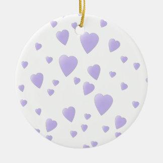 Lila ligera y modelo blanco de los corazones del adorno