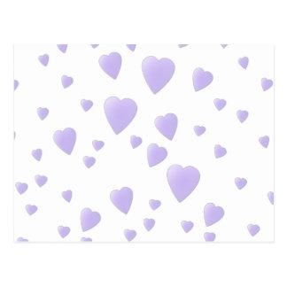 Lila ligera y modelo blanco de los corazones del postal
