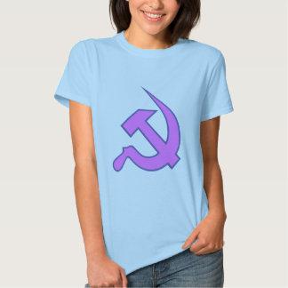 Lila oscura nea y martillo y hoz azules en lila remera