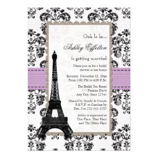 Lila parisiense e invitaciones nupciales negras de