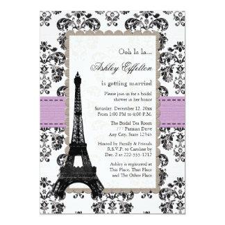 """Lila parisiense e invitaciones nupciales negras de invitación 5"""" x 7"""""""