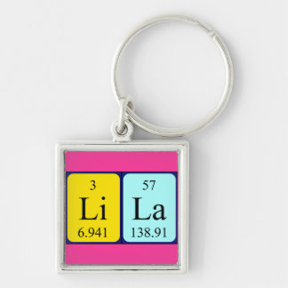 Lila periodic table name keyring Silver-Colored square keychain