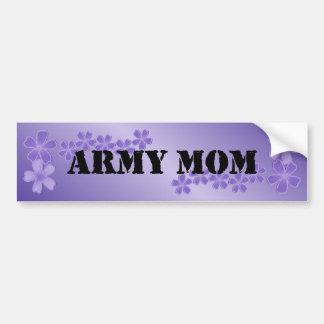 Lila profunda de la mamá del ejército etiqueta de parachoque