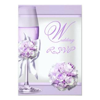 Lila púrpura 3 de la lavanda elegante del boda de invitaciones personalizada