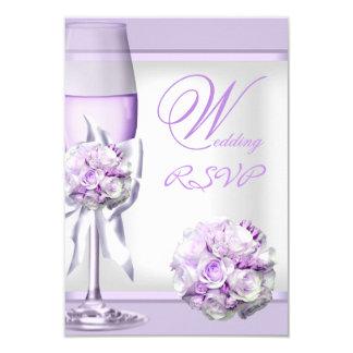 """Lila púrpura 3 de la lavanda elegante del boda de invitación 3.5"""" x 5"""""""