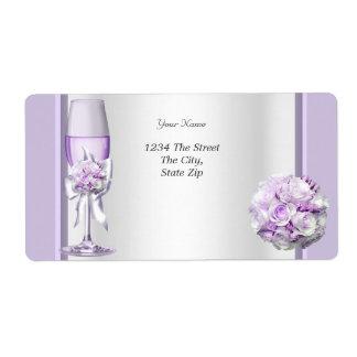 Lila púrpura 3 de la lavanda elegante del boda etiqueta de envío