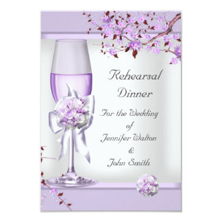 "Lila púrpura 4 de la lavanda del boda de la cena invitación 3.5"" x 5"""