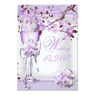 Lila púrpura 4b de la lavanda elegante del boda de comunicados personalizados