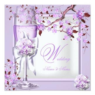 Lila púrpura 4b de la lavanda elegante del boda invitacion personal