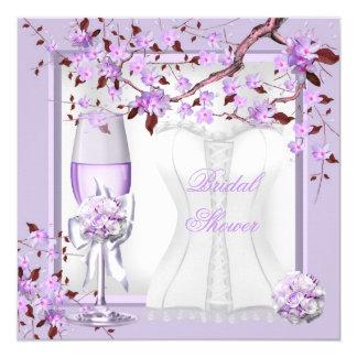 """Lila púrpura 4b de la lavanda nupcial elegante de invitación 5.25"""" x 5.25"""""""