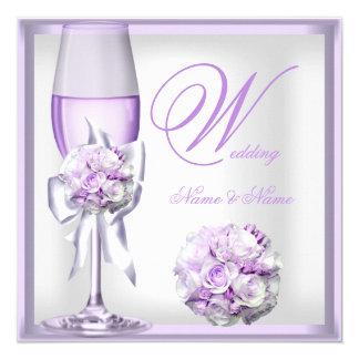 """Lila púrpura Champán 2 de la lavanda elegante del Invitación 5.25"""" X 5.25"""""""