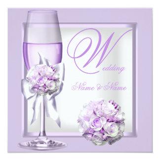 Lila púrpura Champán 3 de la lavanda elegante del Comunicado Personalizado