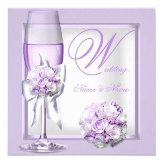 """Lila púrpura Champán 3 de la lavanda elegante del Invitación 5.25"""" X 5.25"""""""