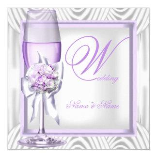 """Lila púrpura Champán de la lavanda elegante del Invitación 5.25"""" X 5.25"""""""