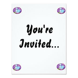 """lila púrpura oval.png de la cinta del conejito invitación 4.25"""" x 5.5"""""""