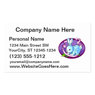 lila púrpura oval.png de la cinta del conejito tarjeta de visita