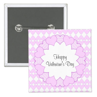 Lila y corazones y marco lindos blancos de la lila pin cuadrado