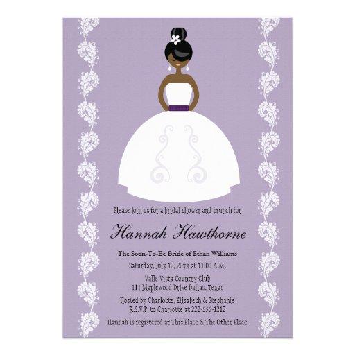 Lilac African American Pretty Bride Bridal Shower Announcements