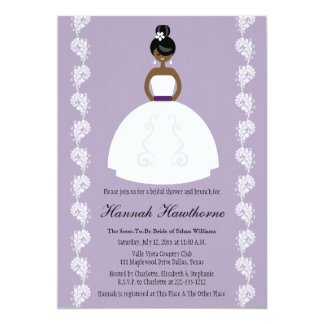 Lilac African American Pretty Bride Bridal Shower Announcements