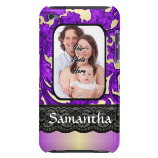 Lilac and black damask lace iPod touch cover