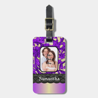 Lilac and black damask lace luggage tag