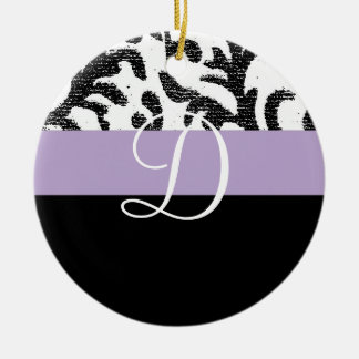 Lilac and Black Floral Monogram Christmas Tree Ornament