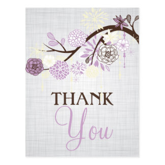 Lilac and Cream Flowers Rustic Thank You Post Card
