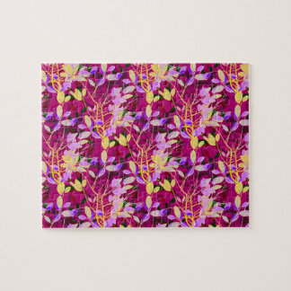 Lilac and Gold Leaves on Hot Pink Jigsaw Puzzle