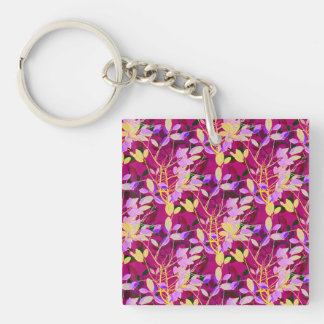 Lilac and Gold Leaves on Hot Pink Keychain