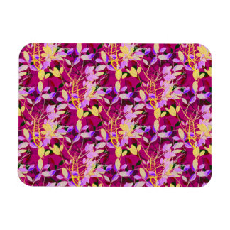 Lilac and Gold Leaves on Hot Pink Rectangular Photo Magnet