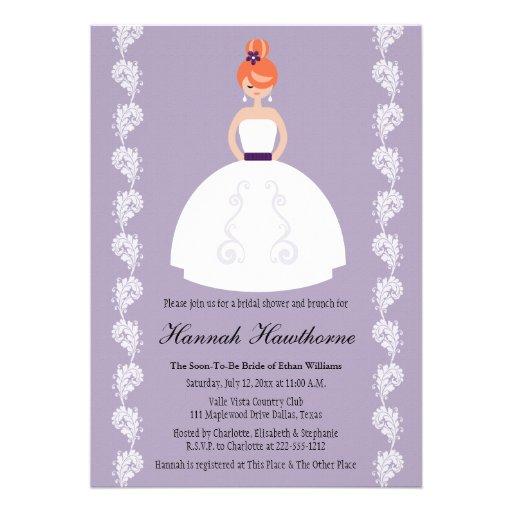 Lilac and Plum Redhead Bridal Shower Invitations