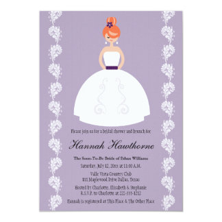 Lilac and Plum Redhead Bridal Shower Invitations