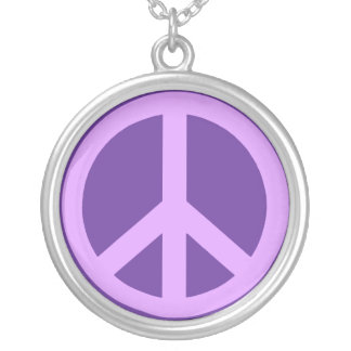 Lilac and Purple Peace Sign Necklace