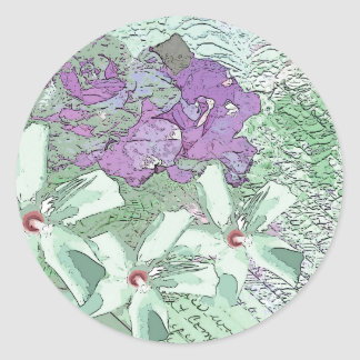 LILAC AND SAGE FLORAL MONTAGE CLASSIC ROUND STICKER