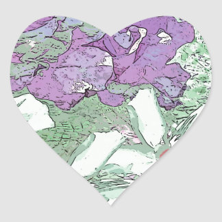 LILAC AND SAGE FLORAL MONTAGE HEART STICKER