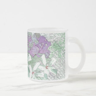 LILAC AND SAGE FLORAL MONTAGE 10 OZ FROSTED GLASS COFFEE MUG