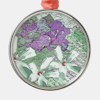 LILAC AND SAGE FLORAL MONTAGE ROUND METAL CHRISTMAS ORNAMENT