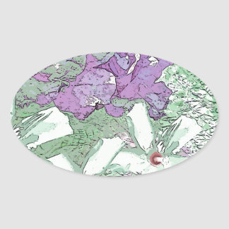LILAC AND SAGE FLORAL MONTAGE OVAL STICKER