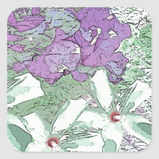 LILAC AND SAGE FLORAL MONTAGE SQUARE STICKER