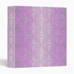 Lilac and Silver Damask 3 Ring Binders