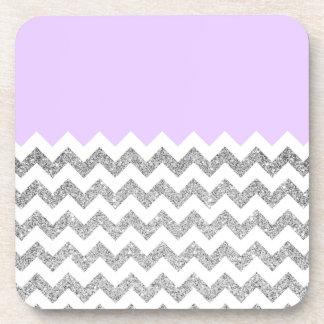 Lilac and Silver Faux Glitter Chevron Coaster
